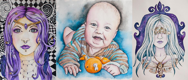 Kadriart portree joonistused ja illustratsioonid akvarellmaalid