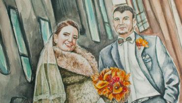 Akvarellmaal pruutpaarist