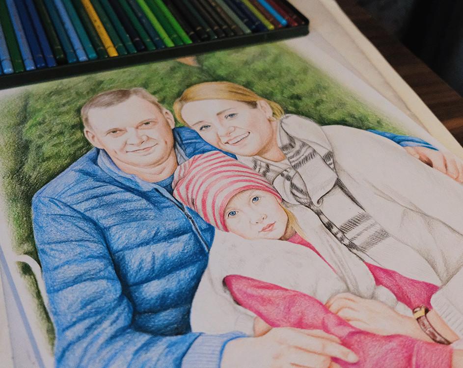 Kadriart portree joonistused ja illustratsioonid pereA3