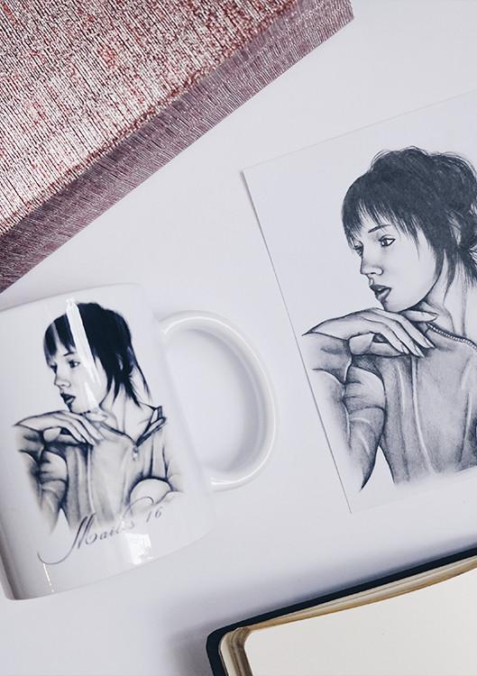 Kadriart portree joonistused ja illustratsioonid tasss