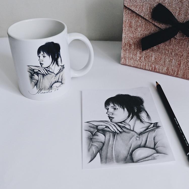 Kadriart portree joonistused ja illustratsioonid kruus
