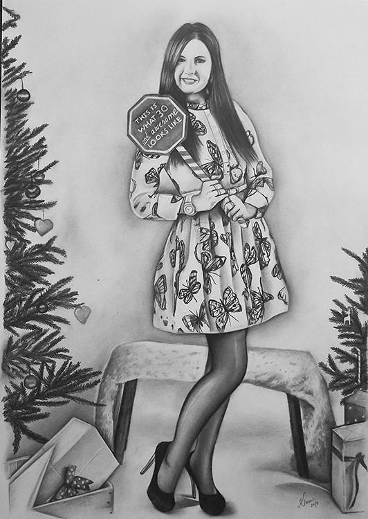 Kadriart portree joonistused ja illustratsioonid liblikatega-naine